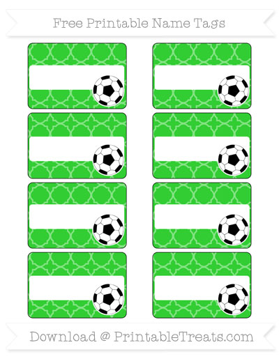 Free Lime Green Quatrefoil Pattern Soccer Name Tags