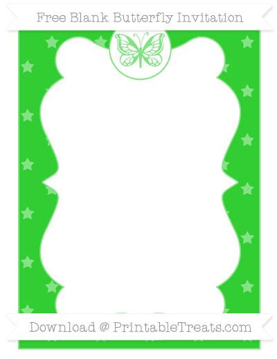 Free Lime Green Star Pattern Blank Butterfly Invitation
