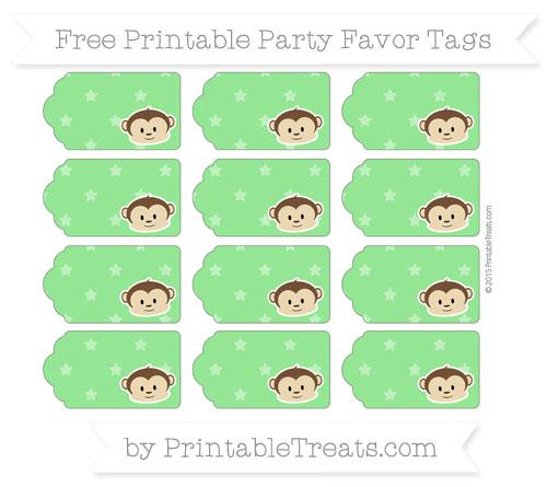 Free Lime Green Star Pattern Boy Monkey Party Favor Tags