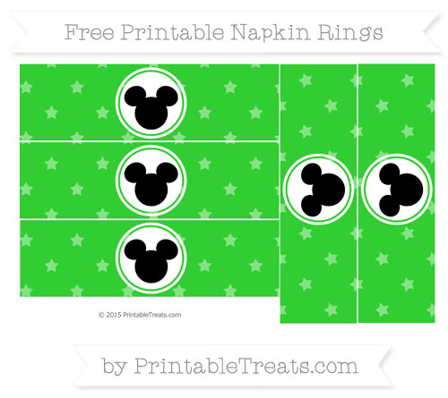 Free Lime Green Star Pattern Mickey Mouse Napkin Rings