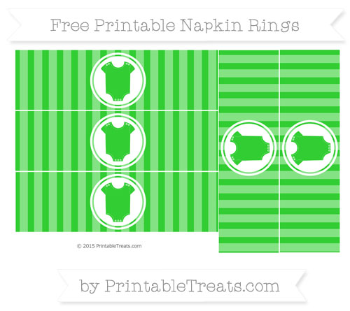 Free Lime Green Striped Baby Onesie Napkin Rings