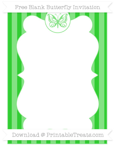 Free Lime Green Striped Blank Butterfly Invitation