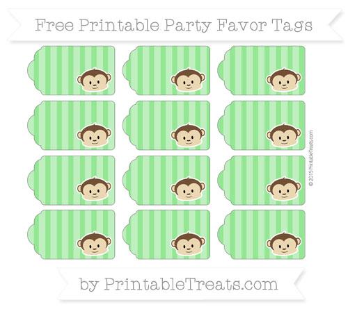 Free Lime Green Striped Boy Monkey Party Favor Tags