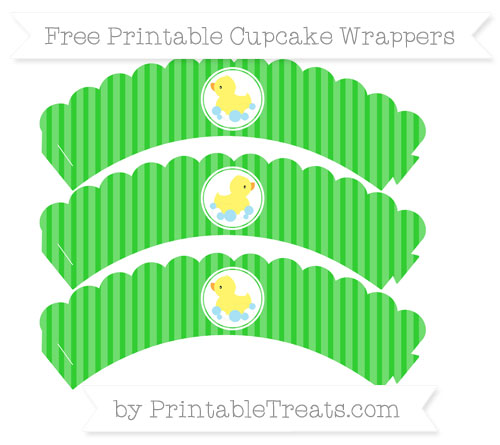 Free Lime Green Thin Striped Pattern Baby Duck Scalloped Cupcake Wrappers