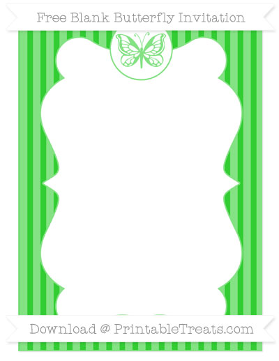 Free Lime Green Thin Striped Pattern Blank Butterfly Invitation