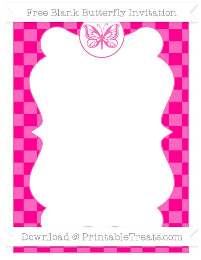 Free Magenta Checker Pattern Blank Butterfly Invitation