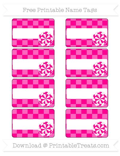 Free Magenta Checker Pattern Cheer Pom Pom Tags