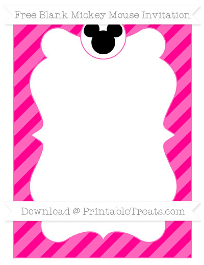 Free Magenta Diagonal Striped Blank Mickey Mouse Invitation