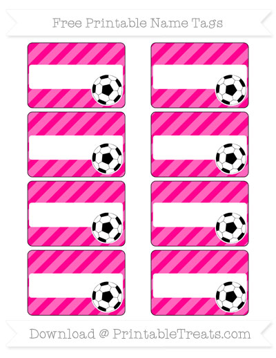 Free Magenta Diagonal Striped Soccer Name Tags