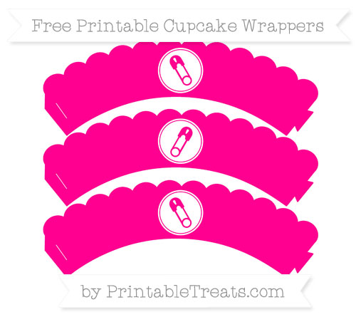 Free Magenta Diaper Pin Scalloped Cupcake Wrappers