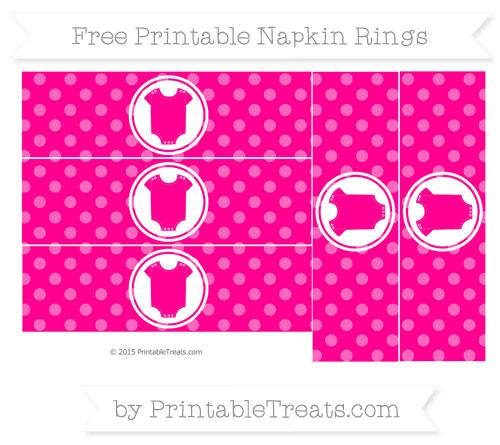 Free Magenta Dotted Pattern Baby Onesie Napkin Rings