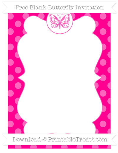 Free Magenta Dotted Pattern Blank Butterfly Invitation