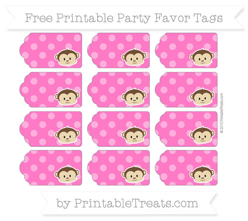 Free Magenta Dotted Pattern Boy Monkey Party Favor Tags