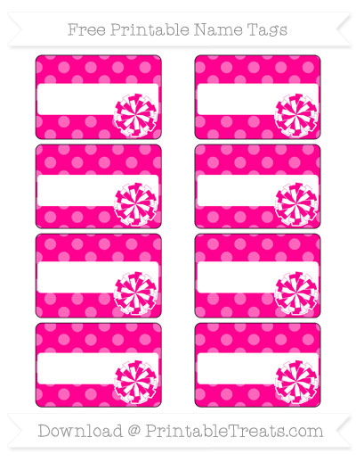 Free Magenta Dotted Pattern Cheer Pom Pom Tags