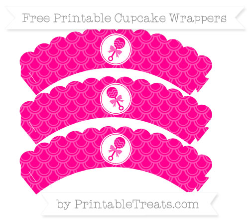 Free Magenta Fish Scale Pattern Baby Rattle Scalloped Cupcake Wrappers