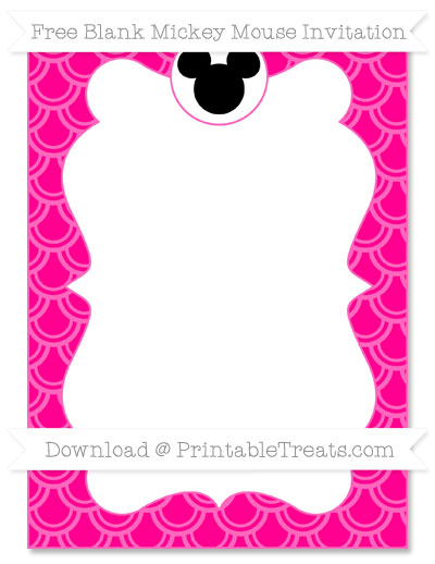 Free Magenta Fish Scale Pattern Blank Mickey Mouse Invitation