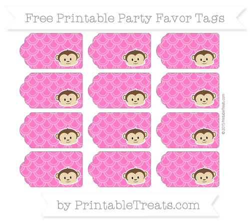 Free Magenta Fish Scale Pattern Boy Monkey Party Favor Tags
