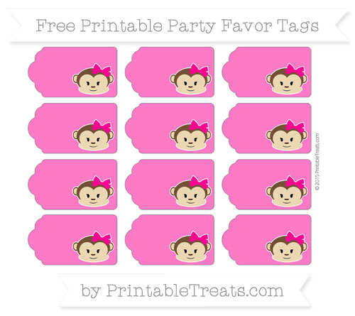 Free Magenta Girl Monkey Party Favor Tags
