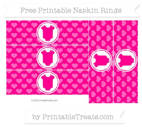 Free Magenta Heart Pattern Baby Onesie Napkin Rings