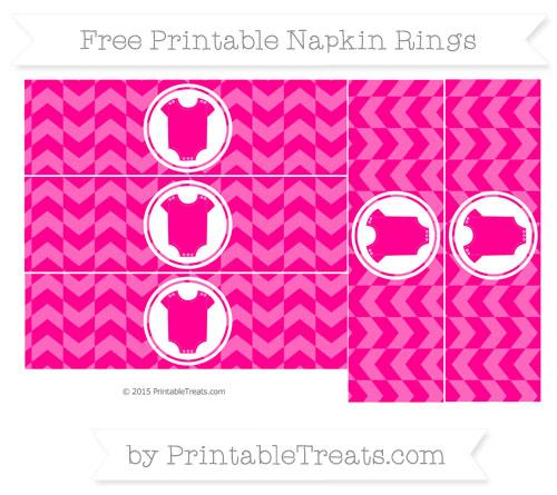 Free Magenta Herringbone Pattern Baby Onesie Napkin Rings