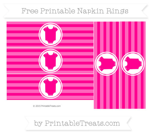 Free Magenta Horizontal Striped Baby Onesie Napkin Rings