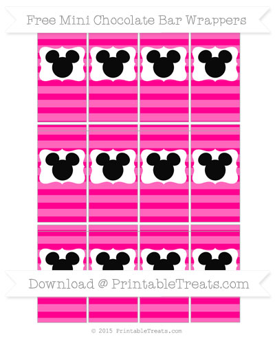 Free Magenta Horizontal Striped Mickey Mouse Mini Chocolate Bar Wrappers