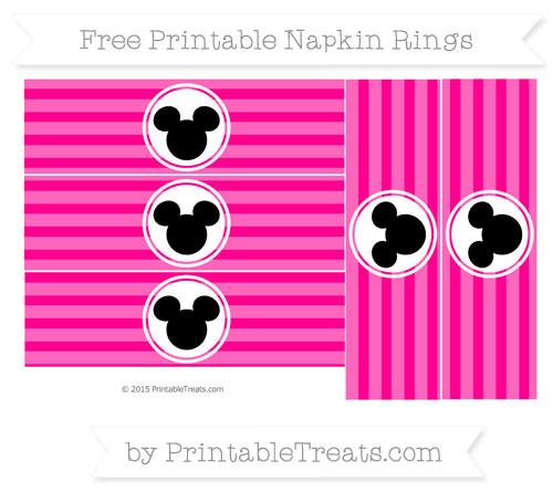 Free Magenta Horizontal Striped Mickey Mouse Napkin Rings