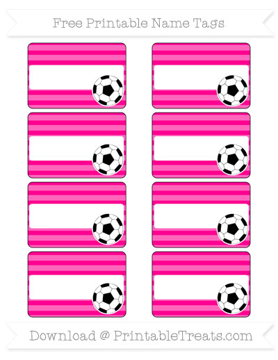Free Magenta Horizontal Striped Soccer Name Tags