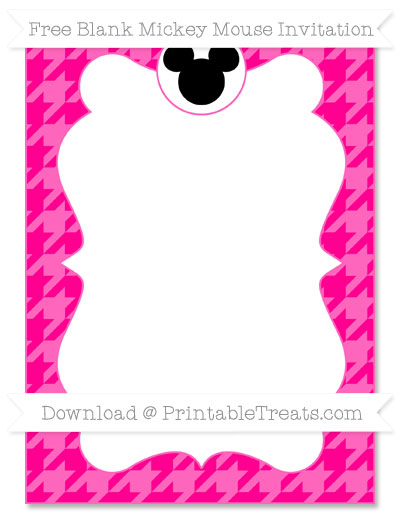 Free Magenta Houndstooth Pattern Blank Mickey Mouse Invitation