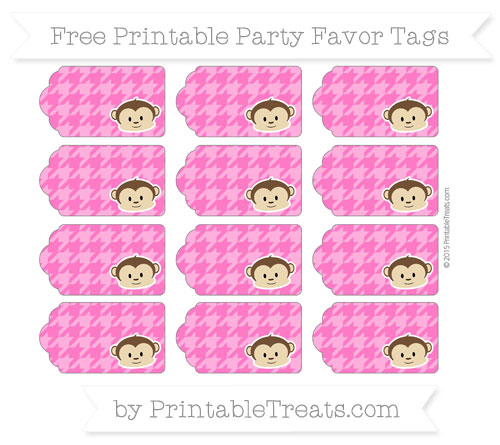Free Magenta Houndstooth Pattern Boy Monkey Party Favor Tags