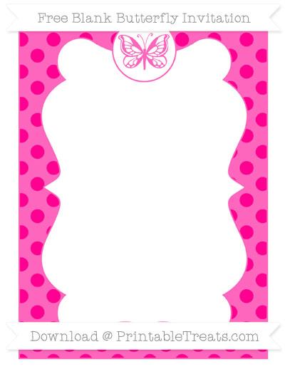 Free Magenta Polka Dot Blank Butterfly Invitation