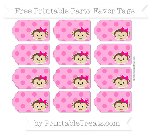 Free Magenta Polka Dot Girl Monkey Party Favor Tags
