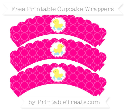 Free Magenta Quatrefoil Pattern Baby Duck Scalloped Cupcake Wrappers