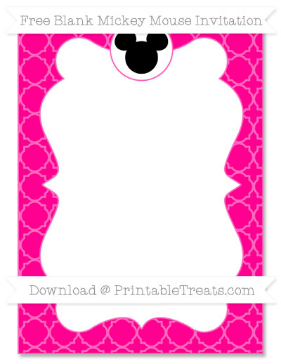 Free Magenta Quatrefoil Pattern Blank Mickey Mouse Invitation