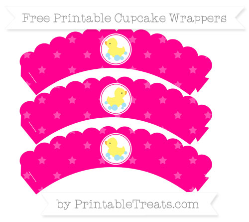 Free Magenta Star Pattern Baby Duck Scalloped Cupcake Wrappers