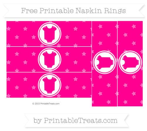 Free Magenta Star Pattern Baby Onesie Napkin Rings