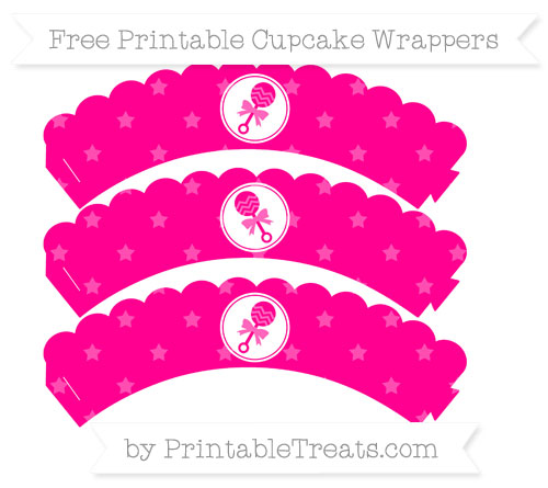 Free Magenta Star Pattern Baby Rattle Scalloped Cupcake Wrappers