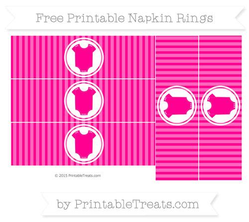 Free Magenta Thin Striped Pattern Baby Onesie Napkin Rings