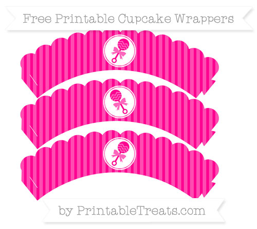 Free Magenta Thin Striped Pattern Baby Rattle Scalloped Cupcake Wrappers