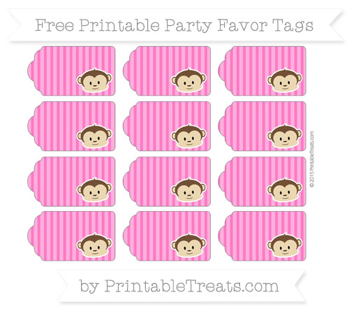 Free Magenta Thin Striped Pattern Boy Monkey Party Favor Tags