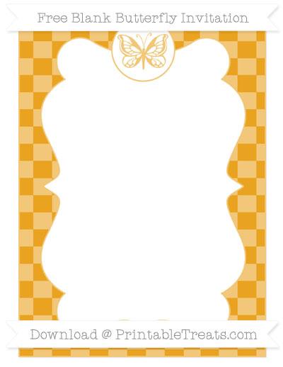 Free Marigold Checker Pattern Blank Butterfly Invitation