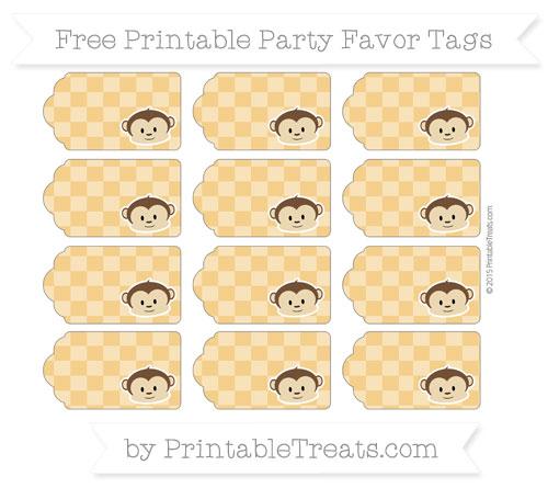 Free Marigold Checker Pattern Boy Monkey Party Favor Tags