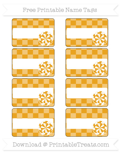 Free Marigold Checker Pattern Cheer Pom Pom Tags