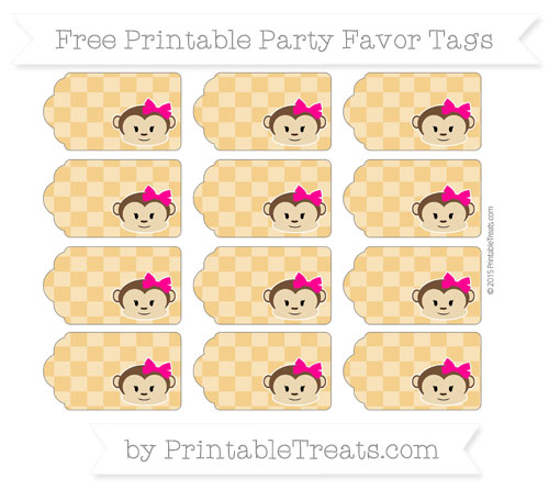 Free Marigold Checker Pattern Girl Monkey Party Favor Tags