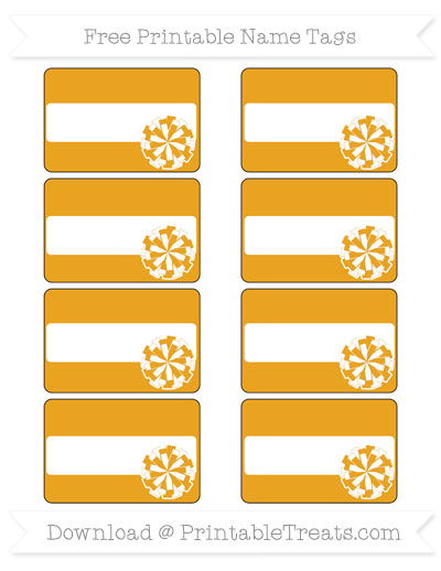 Free Marigold Cheer Pom Pom Tags
