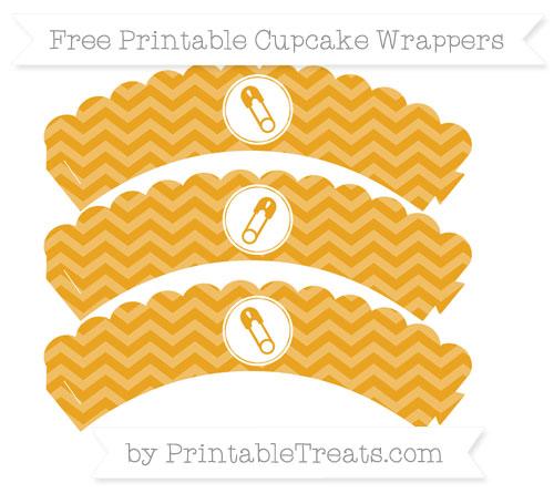 Free Marigold Chevron Diaper Pin Scalloped Cupcake Wrappers