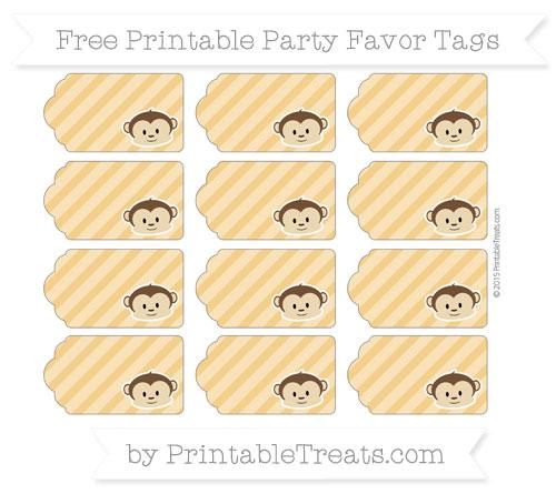 Free Marigold Diagonal Striped Boy Monkey Party Favor Tags