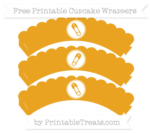 Free Marigold Diaper Pin Scalloped Cupcake Wrappers