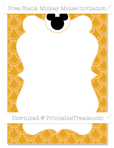 Free Marigold Fish Scale Pattern Blank Mickey Mouse Invitation