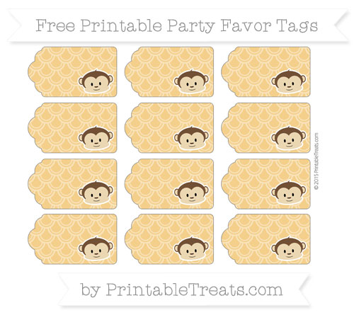 Free Marigold Fish Scale Pattern Boy Monkey Party Favor Tags